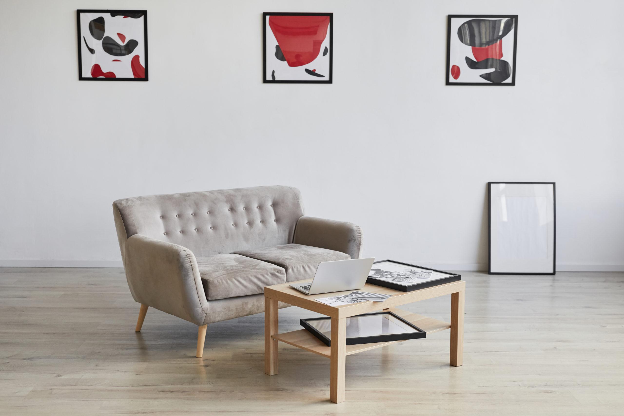 Custom home design with a beige sofa